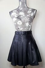 NEW Forever 21 Mini Sexy Faux Leather Black Full Pleated Skirt Size XS NWT