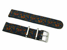 HNS Zulu 2 Pieces Printed Vintage Navy Paisley ZULU Nylon Watch Strap SS Buckle
