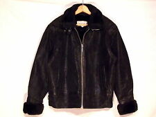 Donna Pella VTG insulated black leather & faux fur jacket / women M / nice / b64