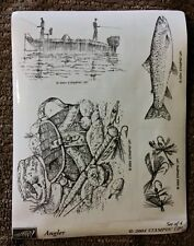 Stampin' Up ANGLER Set of 4 Wood Mounted Rubber Stamps Lot Fishing Boat Fish