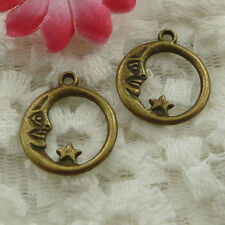 Free Ship 80 pieces bronze plated moon charms 21x18mm #1298