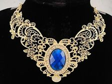 necklace 18k gold p metal lace sapphire blue oval crystal vintage style FIOJ