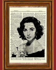 Elizabeth Tayor Dictionary Art Print Poster Picture Vintage Book Liz Actress B&W