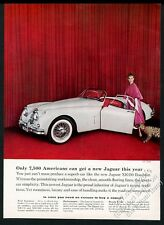 1958 Jaguar XK150 roadster white car wild cat woman photo vintage print ad