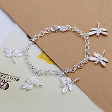 wholesale sterling solid silver fashion charms dragonfly Bracelet XLSB092