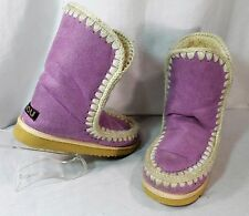 MOU Free People Purple Pull on Eskimo Short Ankle Sherpa Fur lined Boots RARE 8