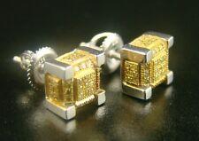 Ice Cube Block Mens Canary Diamond Stud Earrings 8 Mm