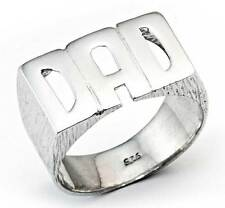 STERLING SILVER SOLID HEAVY BARKED BLOCK DAD DADDY FATHER CURB BAND RING NO CZ