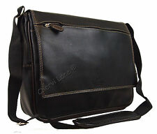 New Black Messenger Satchel Briefcase Laptop Work College School Shoulder Bag