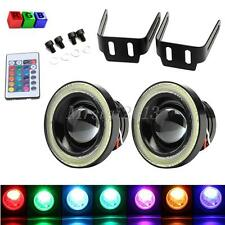 Pair 3.0inch RGB LED COB Halo Rings Angel Eyes Fog Light Wireless Control Colour