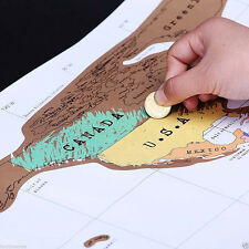 52*88cm Useful Scratch Off World Map Poster Best Gift for Travel Vacation New