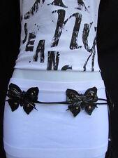 """New Women Black Faux Leather Tie Fashion Belt Big Multi Butterfly 30""""-35"""" S/M"""