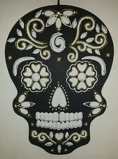 "Hand Painted Sugar Skull Wall Hanging Gold glitter & white 16.5"" Tall x 12"" Wide"