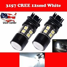 4 x Xenon White 3157 6000K CREE + 12 SMD LED Bulb Brake Tail Back Up Stop Lights