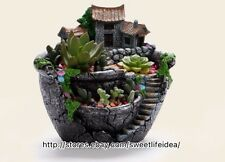 Resin Landscape Country House Cacti Succulent Plant Pot Flower Planter Garden