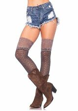 Crochet Knit Over the Knee Slouch Socks With Lace Top Womens Valentine One Size