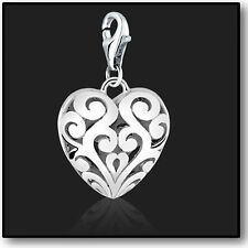 925 Sterling Silver Lace Heart Clip on Bracelet Charms for Charm Bracelets 3D