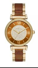 Michel Kors Women's Gold-Tone Amber Acetate Satinless Steel Watch MK 3411 *NWT*