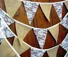 New 12x Hessian Lace Bunting Flags Burlap Banner Rustic Wedding Xmas Party Decor