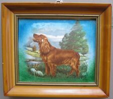 Enamel on copper. Irish Setter (dog) framed