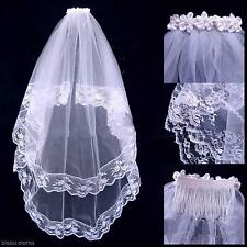 White Wedding Bridal Party Elbow Mesh  2T Layers Lace Edge Bride Veil With Comb