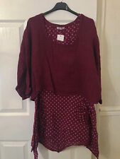 Ladies Italian Lagenlook Linen Spotted 2 Piece Layered Dress Shrug Top Set 10-16