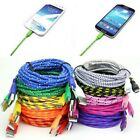 1M 2M 3M Braided Fabric Micro USB Data&Sync Charger Cable Cord For Samsung HTC