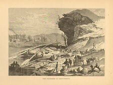 Chattanooga, TN. Tennessee River, City View, Vintage, Antique Art Print, 1872