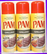 3 PAM with 100% Natural Vegetable Oil GRILLING Non-Stick Cooking Spray High Temp
