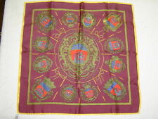 "hermes silk pocket square, 16"" burgandy with gold trim pattern"
