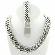 SOLID STAINLESS STEEL SILVER FINISH THICK MIAMI CUBAN LINK CHAIN & BRACELET 21MM
