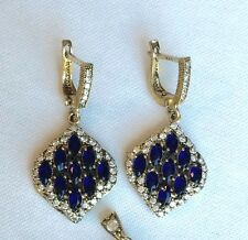 Turkish Handmade Jewelry Sapphire 925 Sterling Silver Drop Dangle Blue Earrings