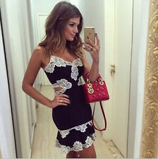 Sexy Women Halter Bodycon Casual Mini Dress Lace Party Cocktail Skirt Size L