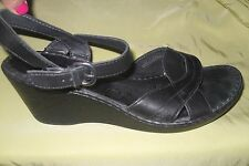 Born Black Leather Ankle Strap Wedge Sandals Heels Shoes Size 11 EURO 43 GUC