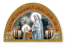 OUR LADY OF LOURDES GOLD FOIL WOODEN PLAQUE PICTURE STATUES CANDLES ALSO LISTED