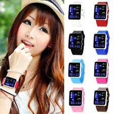 Women Red Binary Digital LED Decoration Waterproof Sports Wrist Watches X-mas