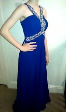 NEW Long Elegant PROM / EVENING / BRIDESMAID DRESS Sequin Royal Blue 8-10 UK