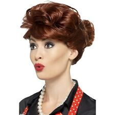 Women's Auburn Housewife Wig 40's 50's Classy Hen Grease Pin Up Model Pink Lady