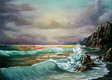 TRA TE E IL MARE - PEZZO UNICO- olio su tela 50x70 - marina al tramonto