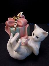 Lenox Porcelain Christmas Figurine White Cat Kitten Playing w Package Ribbon