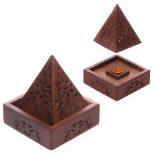 Wooden Incense Cone Holder Burning Box - Pyramid Insense Burner Ash Catcher