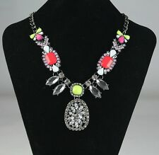 New Fashion Bright Colourful Resin Crystal Water Drop Statement BIb Necklace