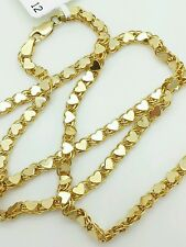 """14k Solid Yellow Gold Heart Link Necklace Pendant Chain 18"""" 3.3mm"""