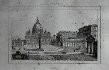 ROMA=PIAZZA SAN PIETRO,OBELISCO E COLONNATO BERNINI= LAMAITRE.LAZIO.Artaud.1835.