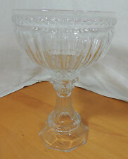 """Huge Clear Crystal Pedestal Compote Giant Wine Glass 13 3/4"""" Tall"""