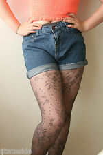 Red Herring Designer Stunning Lace Design Pantyhose Tights Grey Medium RRP £6.50