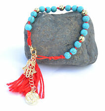 Red String Kabbalah Bracelets against Evil Eye israel .Beaded Turquoise&Hamsa