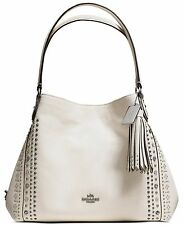 COACH EDIE 31 SHOULDER BAG 55544 PEBBLE LEATHER CHALK NEW DUSTBAG BANDANA RIVETS