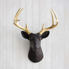 Wall Charmers Deer in Black + Gold Antler Faux Head Metallic Fake Animal Ceramic