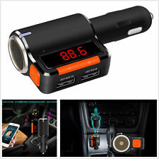 USB Car Charger Bluetooth FM Transmitter w/Display/Extra Cigar Port for iPhone 7